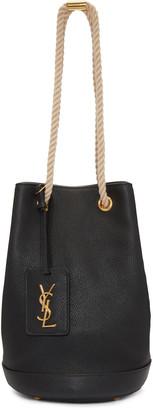 Saint Laurent Black Leather Bucket Bag $1,190 thestylecure.com