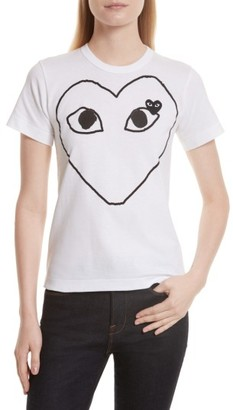 Women's Comme Des Garcons Play Outline Heart Tee $118 thestylecure.com