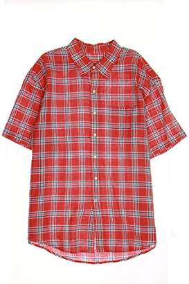 Izod Men's Short Sleeve Plaid Linen Cotton Button Down