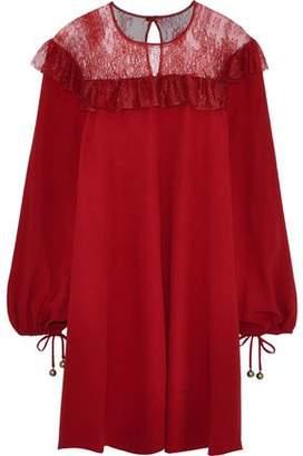 Philosophy di Lorenzo Serafini Ruffle-trimmed Chantilly Lace And Crepe Mini Dress