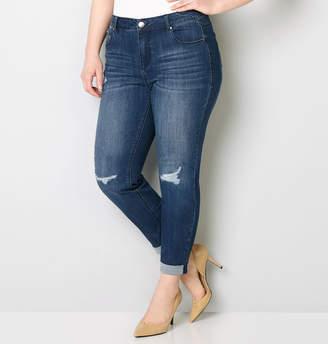 Avenue Virtual Stretch Rip & Repair Ankle Jean in Dark Wash 28-32