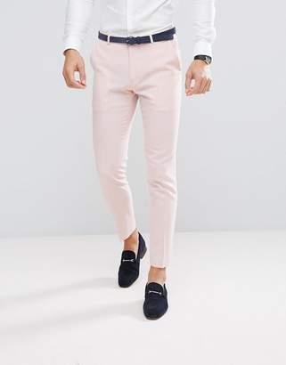 Asos Wedding Skinny Suit Pant In Pink Cross Hatch