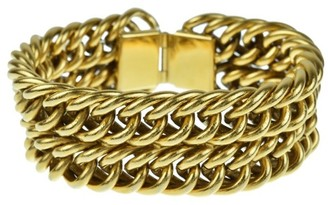 Gold Tone Metal Coco Mark Chain Bracelet