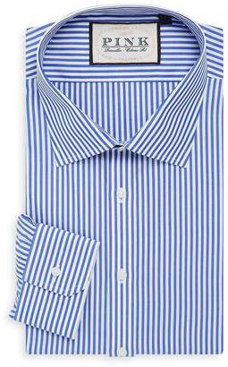 Thomas Pink Men's Classic Fit Brooklan Traveller Striped Cotton Dress Shirt