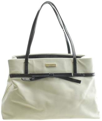 Kate Spade Bow Leather & Leather Cream Patent Leatherxleather Shoulder Bag