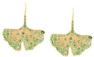 Aurelie Bidermann 18kt yellow gold Ginkgo tsavorite earrings