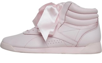 6ed382585dea Reebok Classics Womens Freestyle Hi Satin Bow Trainers Porcelain Pink Skull  Grey