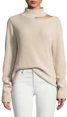 RtA Langley Cutout Cotton Turtleneck Sweater