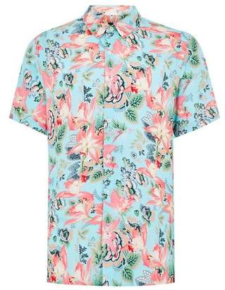 Topman Mens Blue Floral Tile Short Sleeve Shirt