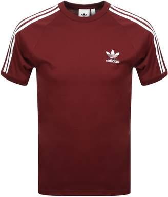 adidas California 3 Stripe T Shirt Red