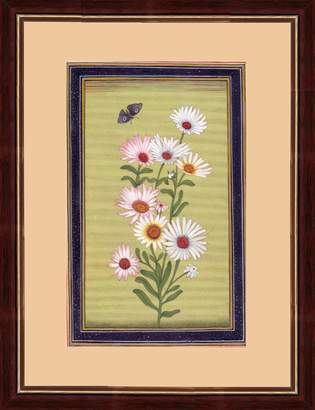 Mini A Ture Splendid Indian Art Splendid Indian Mughal Period Flower 'English Daisy (Bellis Perennis)' Indian Miniature Painting on Old Handmade Paper with Natural Stone Colours & Gold