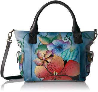 Anuschka Anna By Handpainted Leather Women's Large Tote with Side Pockets Shoulder Bag
