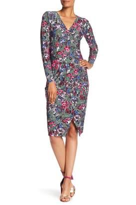 Rachel Roy Surplice V-Neck Floral Print Jersey Dress