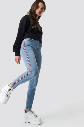 NA-KD Na Kd Side Striped Skinny Jeans Mid Blue