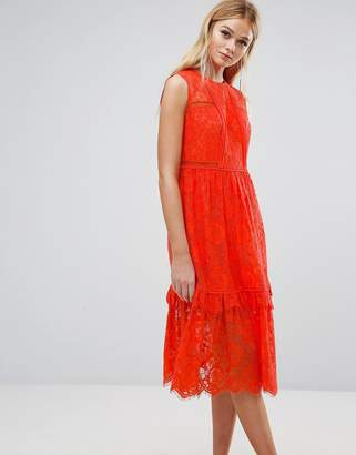 Whistles Lace Panel Midi Dress