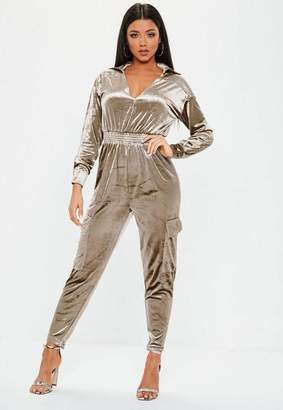 Missguided Grey Velour Cargo Romper
