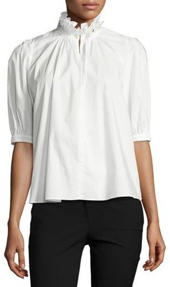 Rebecca Taylor Ruffle-Neck Half-Sleeve Poplin Top, White $250 thestylecure.com