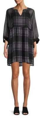 Vero Moda Plaid Sheer-Sleeve Mini Dress