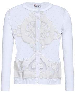 RED Valentino Bianco Embellished Point D'esprit-paneled Cotton Cardigan