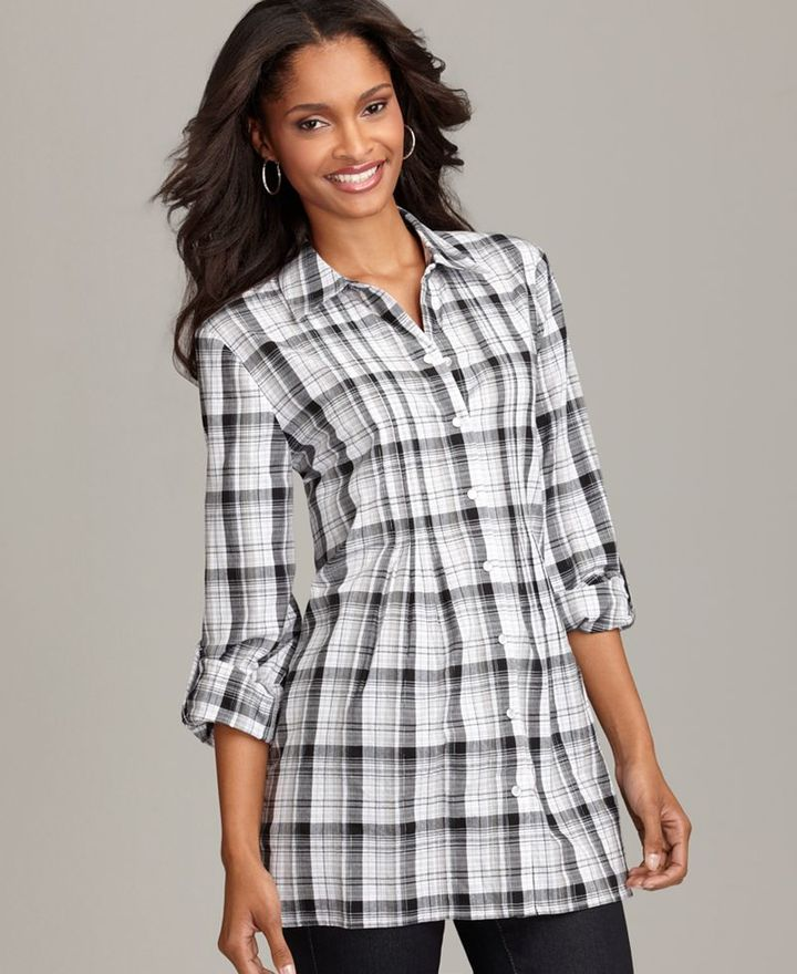 Style&co. Top, Plaid Long Sleeve Smocked Tunic