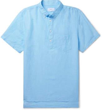 Onia Button-Down Collar Slub Linen And Tencel-Blend Shirt