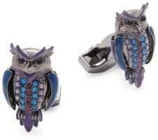 Tateossian Swarovski Crystal Owl Cufflinks