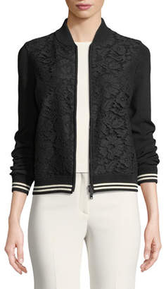 Valentino Long-Sleeve Zip-Front Lace-Front Bomber Jacket