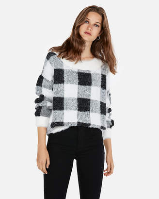 Express Plaid Textured Sweater