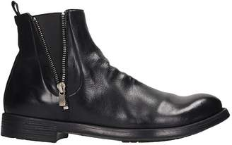 Officine Creative Hive High Heels Ankle Boots In Black Leather