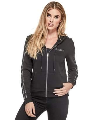 Factory Guess Women's Bevy Logo Stripe Zip Hoodie