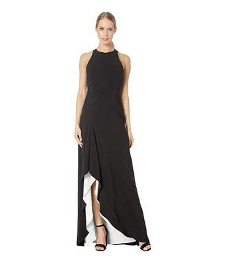 Halston Sleeveless High Neck Open Drape Gown with Ruching