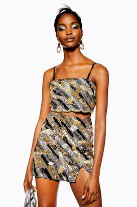 Topshop Womens Animal Sequin Bralet - Gold