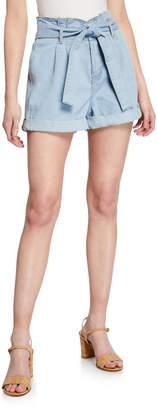 Dex Paperbag Tie-Waist Cuffed Denim Shorts