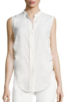 Helmut Lang Sleeveless Ruched Jacquard Blouse $320 thestylecure.com