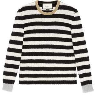 Gucci Striped merino cashmere knitted top