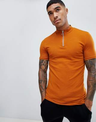 fe078e43 Asos Design DESIGN muscle fit zip turtle neck t-shirt with stretch in brown