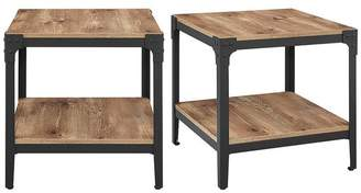 Walker Edison Angle Iron Rustic Wood End Tables, Set of 2
