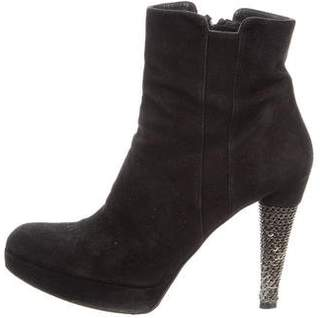Stuart Weitzman Suede Chain-Embellished Ankle Boots
