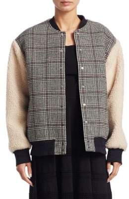 Carven Plaid Faux Fur-Accented Varisty Jacket