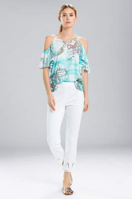 Natori Jeepney and Map Cold Shoulder Camisole-Turquoise