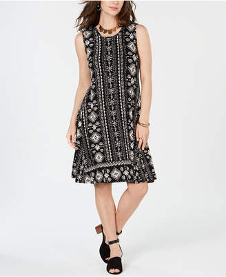 Style&Co. Style & Co Batik-Print A-Line Dress