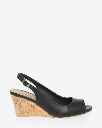 Le Château Leather-Like Peep Toe Slingback
