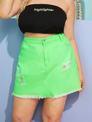 11aa7de6d8 Shein Plus Raw Hem Neon Green Denim Skirt