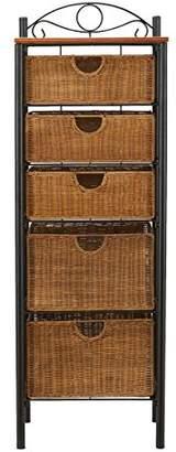 Southern Enterprises 5 Drawer Storage Unit with Wicker Baskets