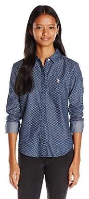 U.S. Polo Assn. Juniors Long Sleeve Denim Shirt in Dark Indigo Wash