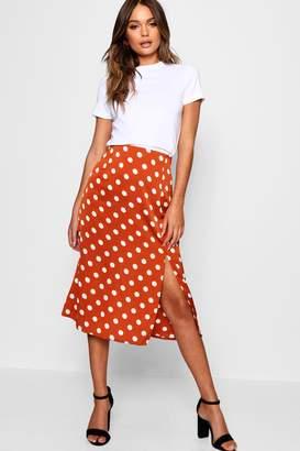 boohoo Satin Polka Dot Split Midi Skirt