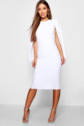 boohoo Petite Cape Sleeve Midi Dress