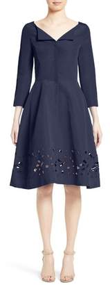 Nordstrom x Carolina Herrera Carolina Herrerra Laser Cut Eyelet Button Front Dress