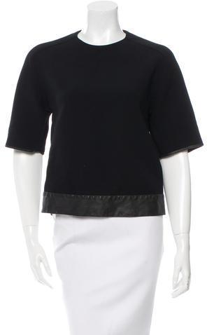 3.1 Phillip Lim3.1 Phillip Lim Leather-Trimmed Wool Blend Top