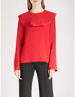 Stella McCartney Frilled-panel crepe top